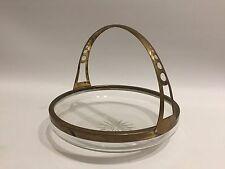 Jugendstil Design Glasschale mit Messing-Henkel Art Nouveau Wien? um 1900 Bowl