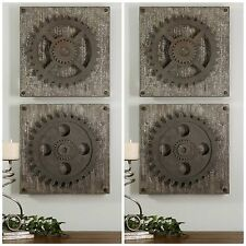 FOUR DECORATIVE INDUSTRIAL GEARS WALL ART SQUARES PLAQUES UTTERMOST