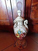 Ancien grand pied de lampe électrifié en céramique-vintage 70-fleurs-barbotine