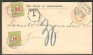 1896 GB UK QV 1d Postal Cover Bank of AustralAsia Postage Due TAX Switzerland
