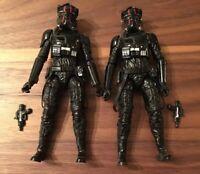 "Star Wars Black Series Lot Of 2 First Order Tie Pilot Elite 6"" Loose Complete"