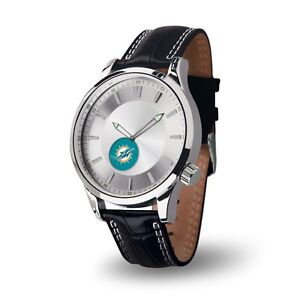 Miami Dolphins Icon Men's Watch [NEW] Jewelry Leather Stainless Steel