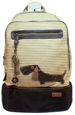 Chala Backpack Style Purse Striped Puppy Dog w detachable Key Chain Fob Charm
