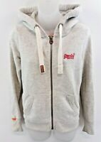 SUPERDRY Womens Hoodie Jacket XS Grey Cotton & Polyester