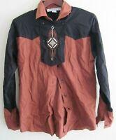 Adobe Rose womens sz M Brown & Black Western Embroidered Shirt