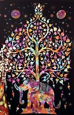 Kayso Tree of Life Psychedelic Wall Hanging Elephant Tapestry, Multi/Black