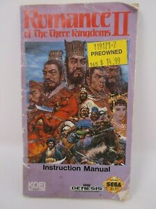 Romance of the Three Kingdoms II Instruction Manual Sega Genesis