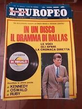 """L'EUROPEO RIVISTA SETTIMANALE 1967 n° 4 anno XXIII + DISCO """"IL DRAMMA DI DALLAS"""""""