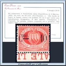 San Marino 1892 Soprast. 10 su 20 c. rosso n. 10 Diena