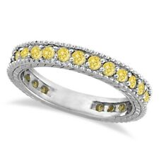 Eternity Ring Band 14k White Gold 1.00ct Fancy Yellow Canary Diamond Right Hand