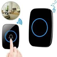 Wireless Doorbell Waterproof Door Chime 2 Remote Button+1 Plug-In Receiver Black