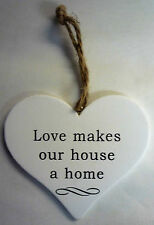 Hanging Wooden Heart Shaped Plaque Sign Message Decoration Gift Door Wall Love Makes Our House a Home