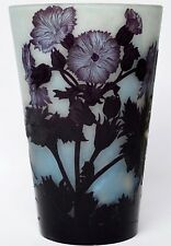 Große Glasvase Vase Überfangglas signiert Andre Delatte Nancy 1920er Höhe 25 cm