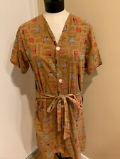 Vintage 1940's Novelty Brown Shaving Cups Day Dress/Top Size Large