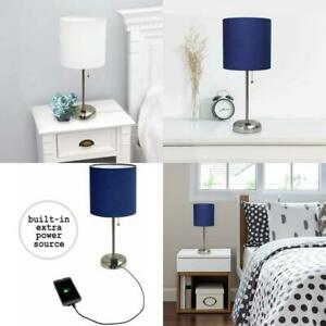 Table Stick Lamp Charging Outlet Fabric Shade Pull Chain Bedside Office Bedroom