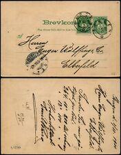 L549 Norway postcard stationery Germany Bergen Elberfeld 1900