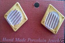 Vintage Handmade Porcelain Diamond Shape Earrings in Pale Gold and Light Purple