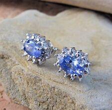 New in Box .82ctw Genuine Tanzanite & Diamond Halo Earrings Sterling Silver #808
