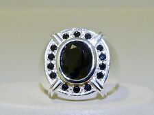 GENUINE 3.56tcw! African Black Spinel Men's Ring, Solid S/Silver 925!