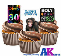PRECUT 30th Birthday Dirty Thirty 12 Edible Cupcake Toppers Cake Decorations
