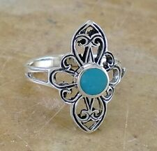 UNIQUE .925 STERLING SILVER FILIGREE TURQUOISE RING size 6  style# r2215