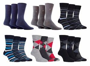 Farah - 3 Pack Mens Thin Breathable Argyle Stripe Fashion Cotton Dress Socks