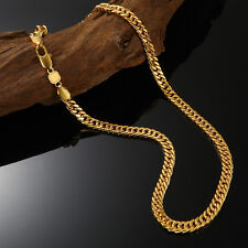 "Mens Solid 24K Gold Filled Cuban Curb Necklaces Link Chain 24""x6mm Jewelry"