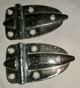 Reclaimed Chrome Cabinet Flat Hinges Small One Set Pair Vintage Atomic Art Deco