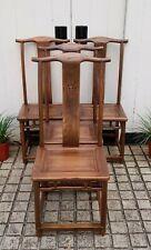 Impressive Set of 4 Chinese  Handmade Elm Wood Dining Chairs