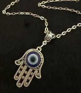 "Hamsa Hand Necklace 24"" Hand of Fatima Spiritual Buddha Evil Eye Pendant God Rah"