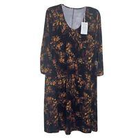 Garnet Hill Women's NWT Black floral jersey tencel Dress size XL 3/4 Sleeve