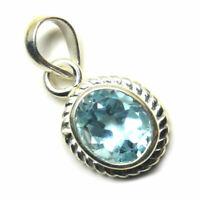 Genuine Blue Topaz 925 Silber Anhanger 4 Karat Astrologische Stein Charm Schmuck