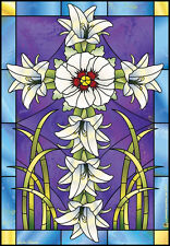 "House Flag - ""Stained Glass Lilies"" Cross Religious Religion Faith 24 x 36 Flag"