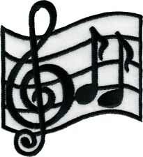 110038 Music Notes Scale Treble Clef Band Musician Embroidered Iron On Patch