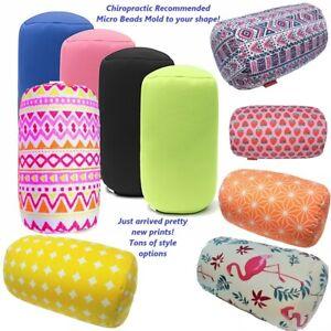 "Micro Bead Roll Pillow Cushion 14"" x 6"" Comfort Head Neck Back Waist Travel Home"