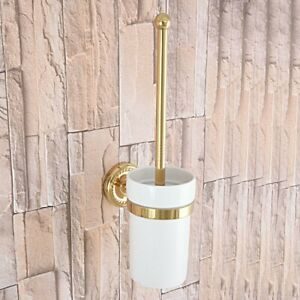 Gold Color Brass Wall Mount Bathroom Toilet Cleaning Brush and Holder Set Gba595