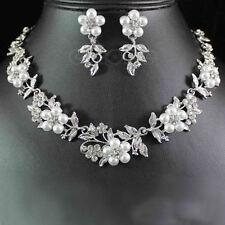 Beautiful Austrian Rhinestone Crystal Pearl Necklace Earrings Set Wedding Bridal