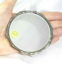 Vintage GODINGER 1988 Silver Plated Hand Held Purse Mirror W/ Storage Pouch!