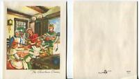 VINTAGE VICTORIAN CHRISTMAS COOK KITCHEN STOVE DINNER TURKEY & 1 PINE CONES CARD