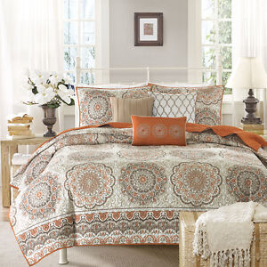 BEAUTIFUL 6pc CHIC TROPICAL ORANGE BROWN WHITE TAUPE GLOBAL SOUTHWEST QUILT SET