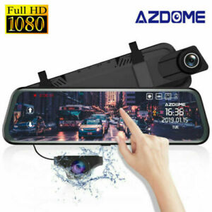 """AZDOME 10"""" Mirror Car Camera Touch Screen Dual Lens Front and Rear Dash Cams UK"""