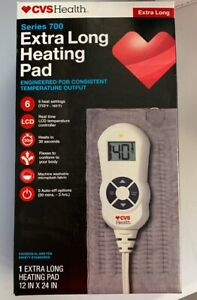 CVS SERIES 700 EXTRA LONG HEATING PAD 6 SETTINGS FLEXES LCD CONTROLLER AUTO-OFF