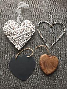 Heart Bundle Ornament Chalk Slate Board Wood White Laugh
