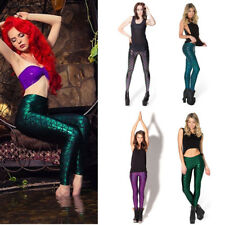 Shiny Dotted Mermaid Leggings Metallic Fish Scale Skinny Pants Fancy Dress Party