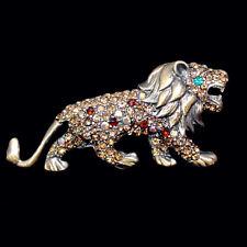 Wundervolle Brosche Löwe Lion, Kristalle in Braun und Topas, antikgoldfarben