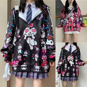 Girl Japanese Kawaii Kuromi Jacket Sweet Hoodie  Uniform Cardigan Harajuku Coat