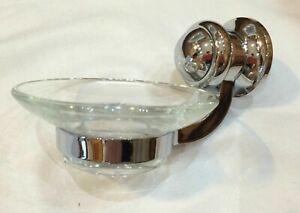 Soap Dish Good Quality RRP £35 Chrome & Glass Finish Bathroom Cloakroom Kitchen