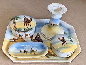Vintage Falcon Ware England Dressing Table Set Egypt Camel Pyramid Design