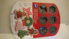 Christmas Cookie Shapes Pan Mini 12 Mould Nonstick Tray Festive gingerbread man