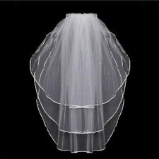 3 Layer Wedding Veil Satin Edge Elbow Length Bridal Veils With Pearls Comb FA3